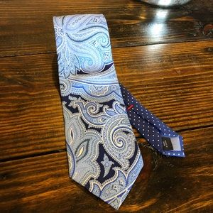 TOMMY HILFIGER: Blue paisley and polka dot necktie